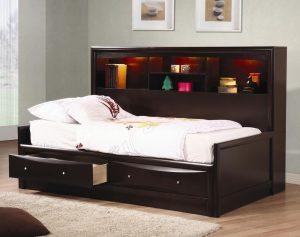Sofa Tidur Multifungsi dengan Laci dan Rak Buku