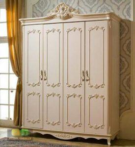 Lemari Pintu 4 duco putih klasik